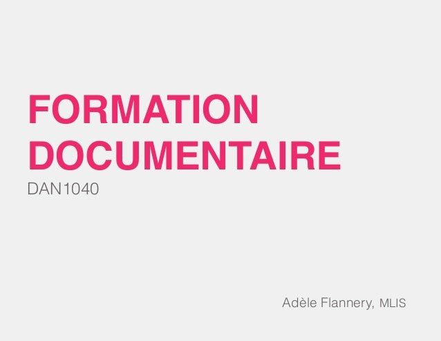 DAN1040 formation documentaire Adèle Flannery, MLIS