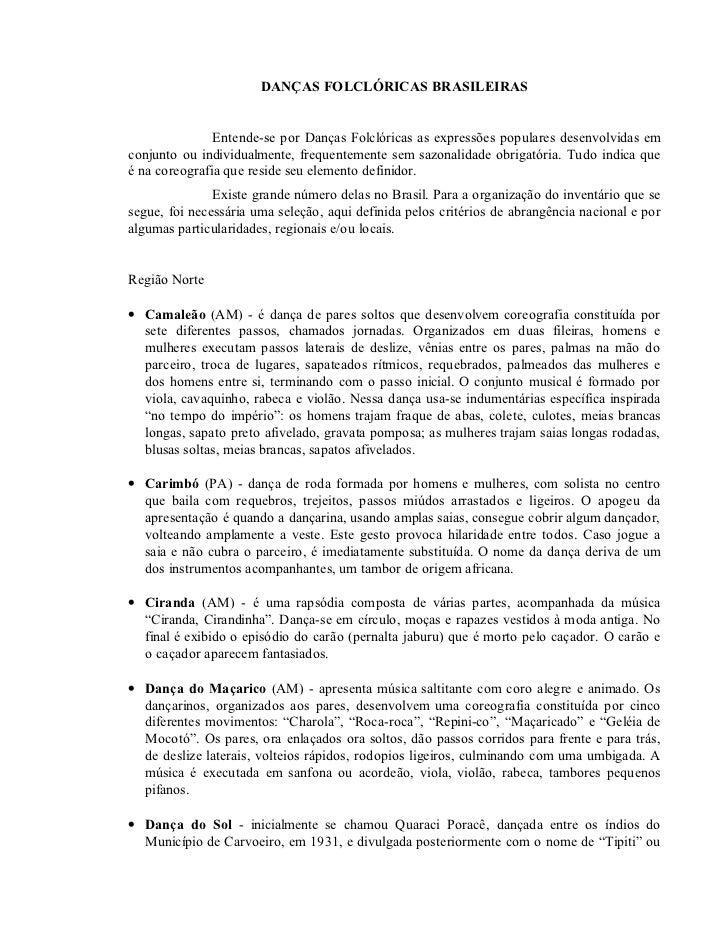 DANÇAS FOLCLÓRICAS BRASILEIRAS