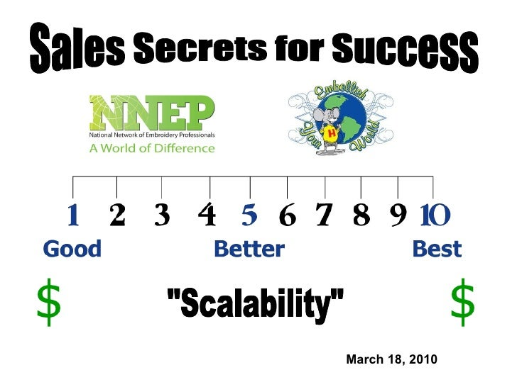 "March 18, 2010 Sales Secrets for Success ""Scalability"" $ $"
