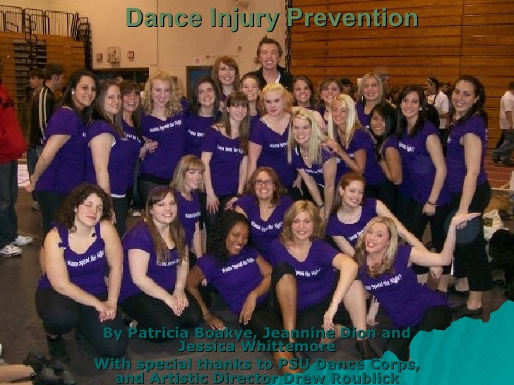 Dance Injury Prevention By Patricia Boakye, Jeannine Dion and Jessica Whittemore With special thanks to PSU Dance Corps, a...