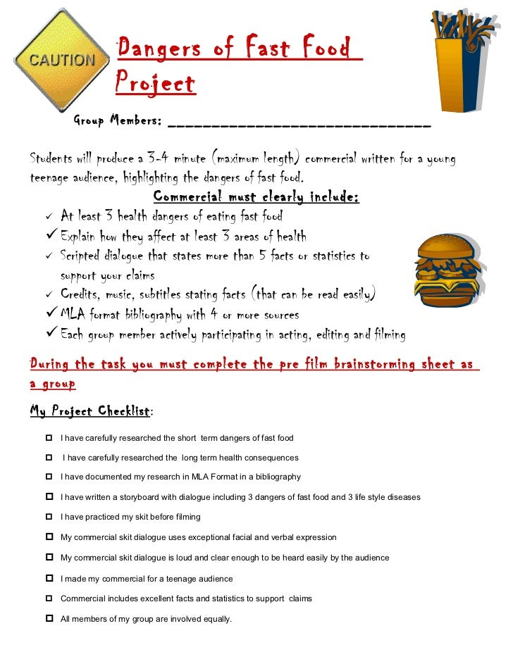 Dangers of fast food project student handout with checklist