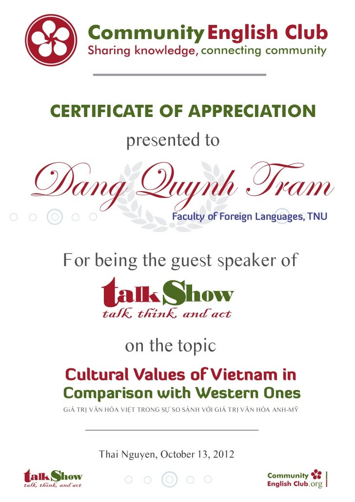 CERTIFICATE OF APPRECIATION                  presented toDang Quynh Tram                Faculty of Foreign Languages, TNU ...