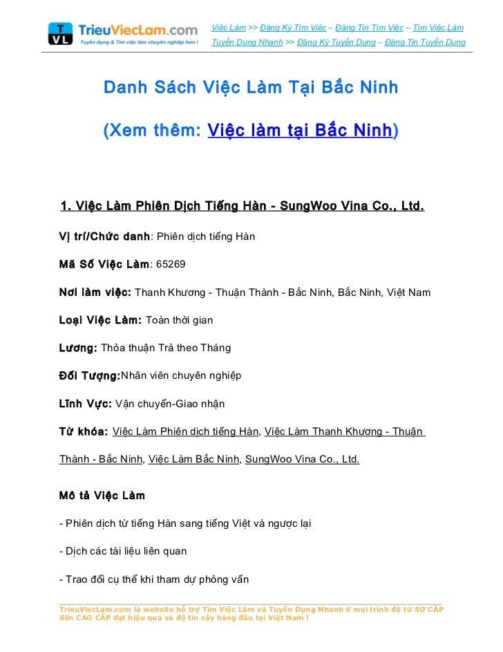 Danh Sách Việc Làm Tại Bắc Ninh