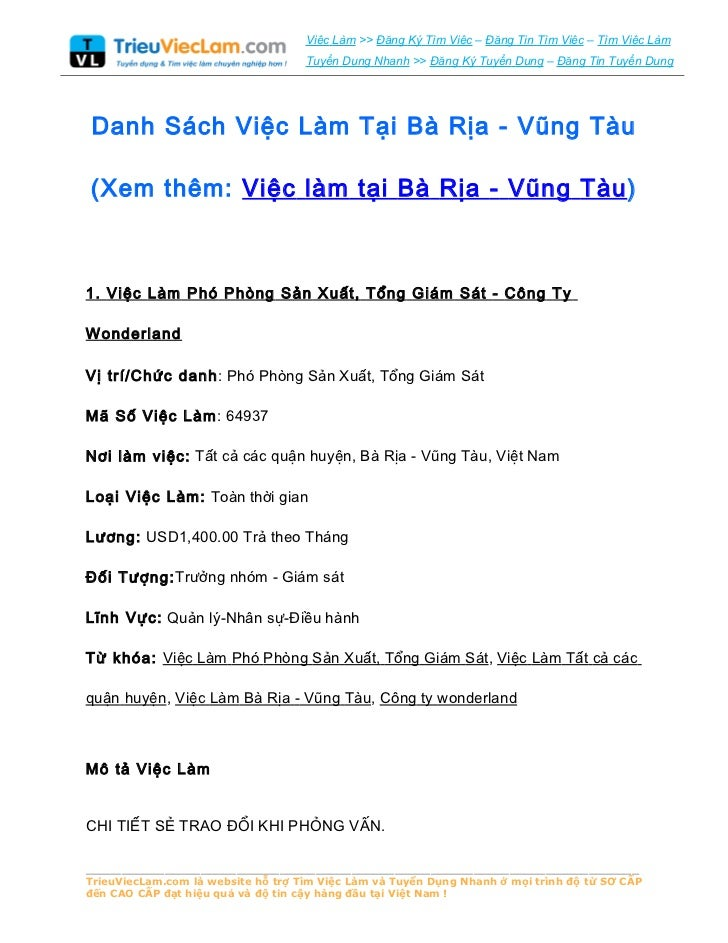 Danh Sách Việc Làm Tại Bà Rịa - Vũng Tàu