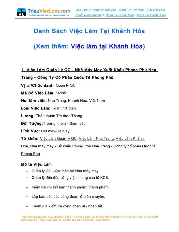 Danh Sách Việc Làm Tại Khánh Hòa