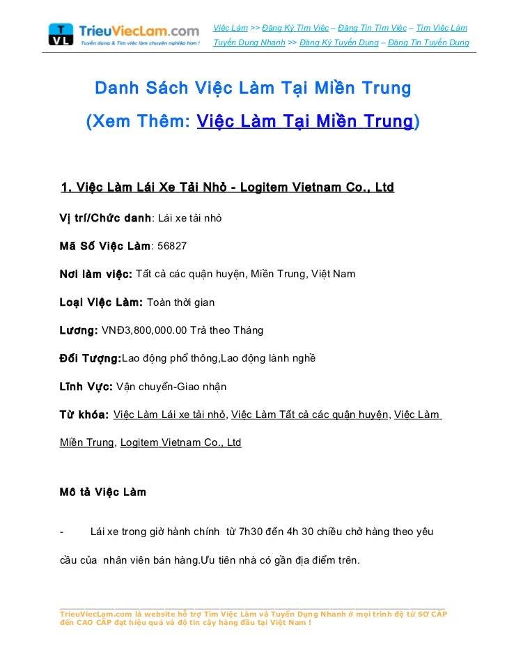 Danh Sách Việc Làm Tại Miền Trung