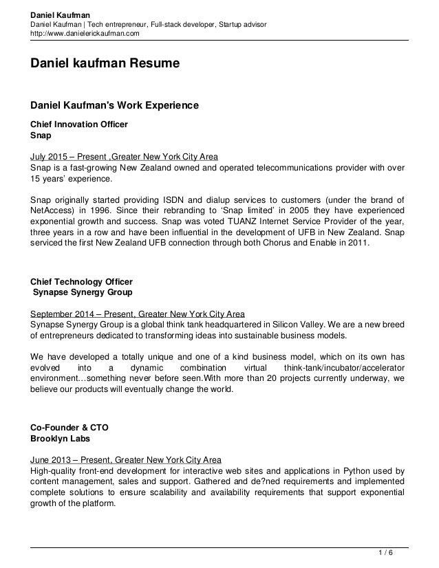daniel kaufman resume
