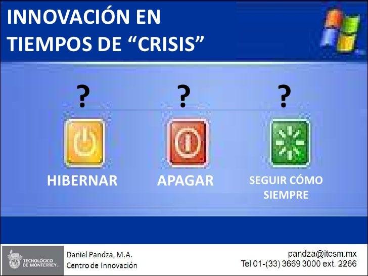"""INNOVACIÓN EN TIEMPOS DE """"CRISIS""""        ?         ?          ?     HIBERNAR   APAGAR   SEGUIR CÓMO                       ..."""