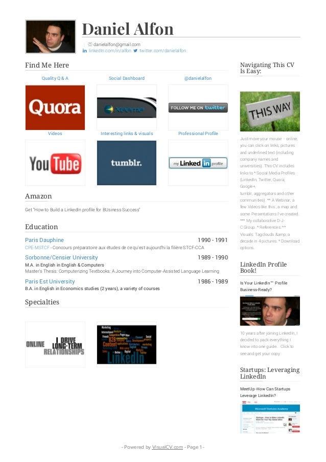Daniel Alfon Visual CV 2015 Portfolio Resume