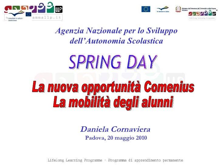 Daniela Cornaviera   Padova, 20 maggio 2010 Agenzia Nazionale per lo Sviluppo dell'Autonomia Scolastica La nuova opportuni...