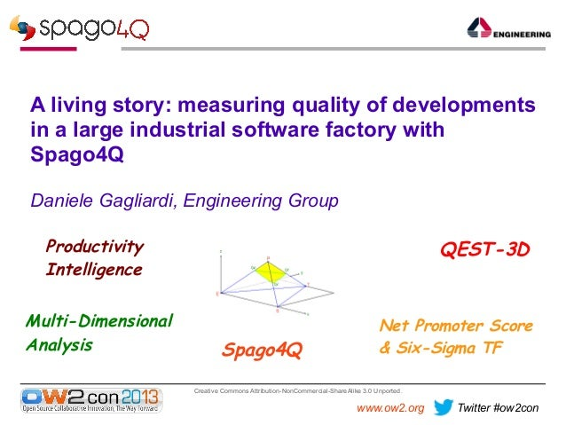 A living story: measuring quality of developments in a large industrial software factory with Spago4Q, Daniele Gagliardi, Engineering Group.