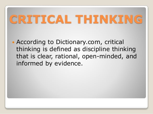 Dictionary Critical Thinking