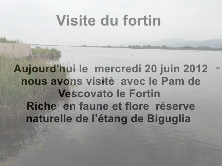 Visite du fortinAujourdhui le mercredi 20 juin 2012 nous avons visité avec le Pam de        Vescovato le Fortin  Riche en ...