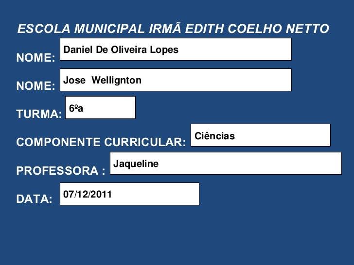 ESCOLA MUNICIPAL IRMÃ EDITH COELHO NETTO NOME: NOME: TURMA:  COMPONENTE CURRICULAR: PROFESSORA : DATA: