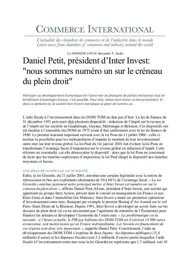 """Le 2010/02/01 à 09:18 Alexandre T. Analis Daniel Petit, président d'Inter Invest: """"nous sommes numéro un sur le créneau du..."""