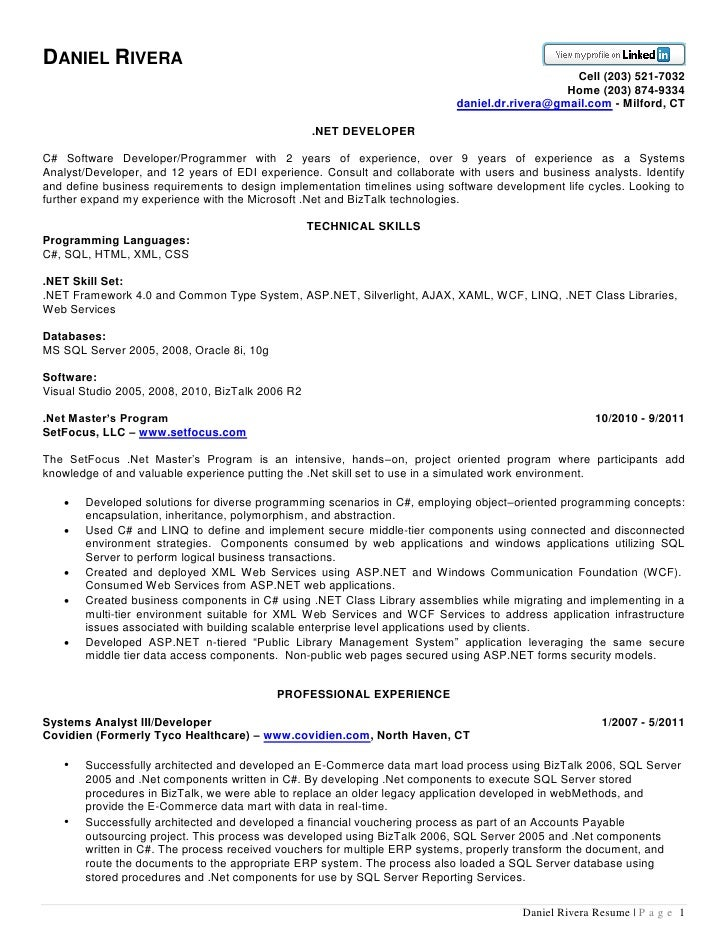 Daniel Rivera .NET Resume