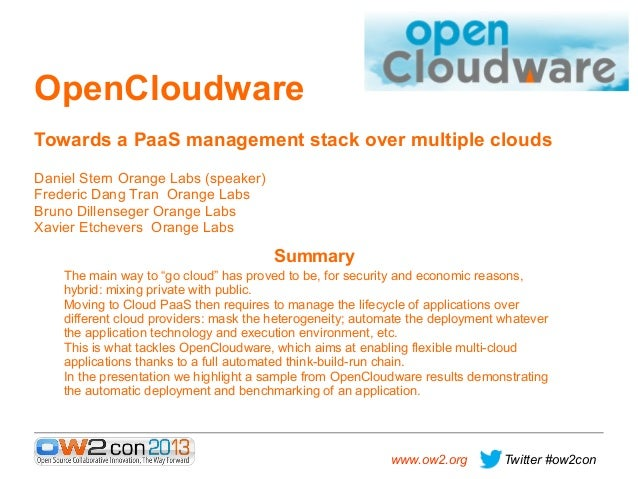 OpenCloudware Towards a PaaS management stack over multiple clouds Daniel Stern Orange Labs (speaker) Frederic Dang Tran O...