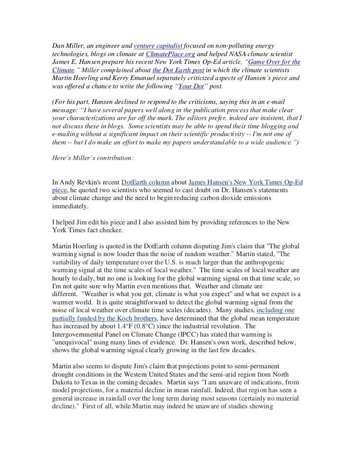 A Defense of Jim Hansen's Climate Conclusions