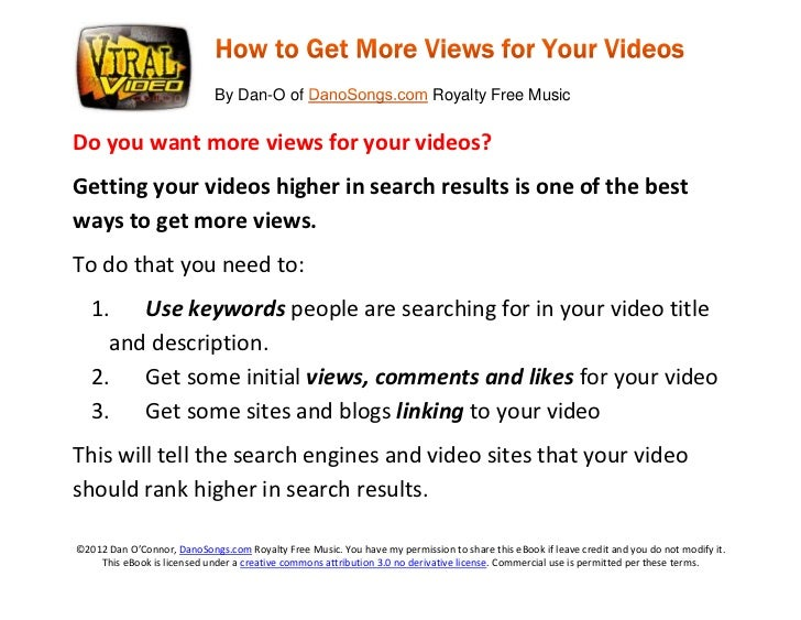 Viral Video Marketing eBook: Get More Video Views with Search Promotion