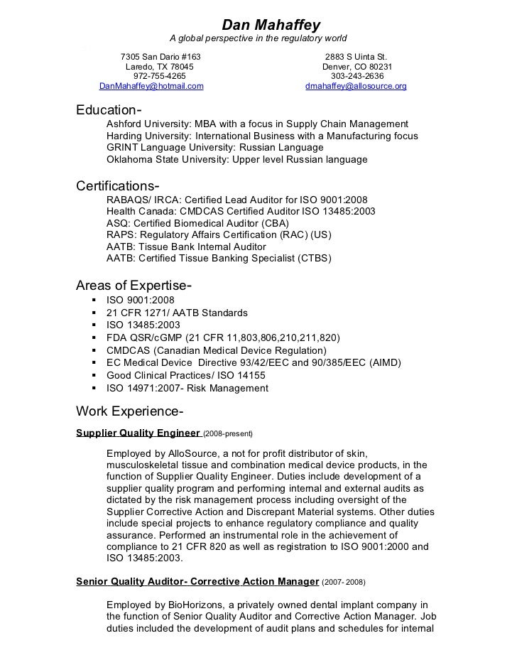 Iso Auditor Sample Resume