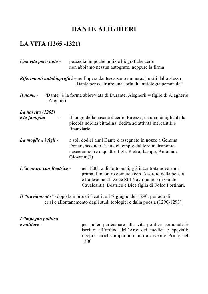 DANTE ALIGHIERI  LA VITA (1265 -1321)  Una vita poco nota -     possediamo poche notizie biografiche certe                ...