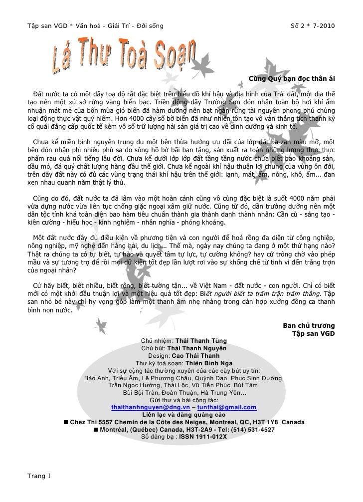 Tập san VGD * Văn hoá - Giải Trí - Đời sống                                             Số 2 * 7-2010                     ...