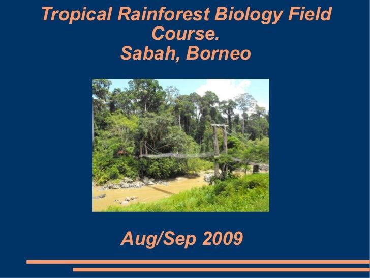 Tropical Rainforest Biology Field Course. Sabah, Borneo Aug/Sep 2009