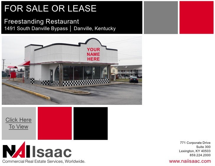 FOR SALE OR LEASE:  Freestanding 1,800 SF Restaurant on 0.410 ac in Danville, Kentucky