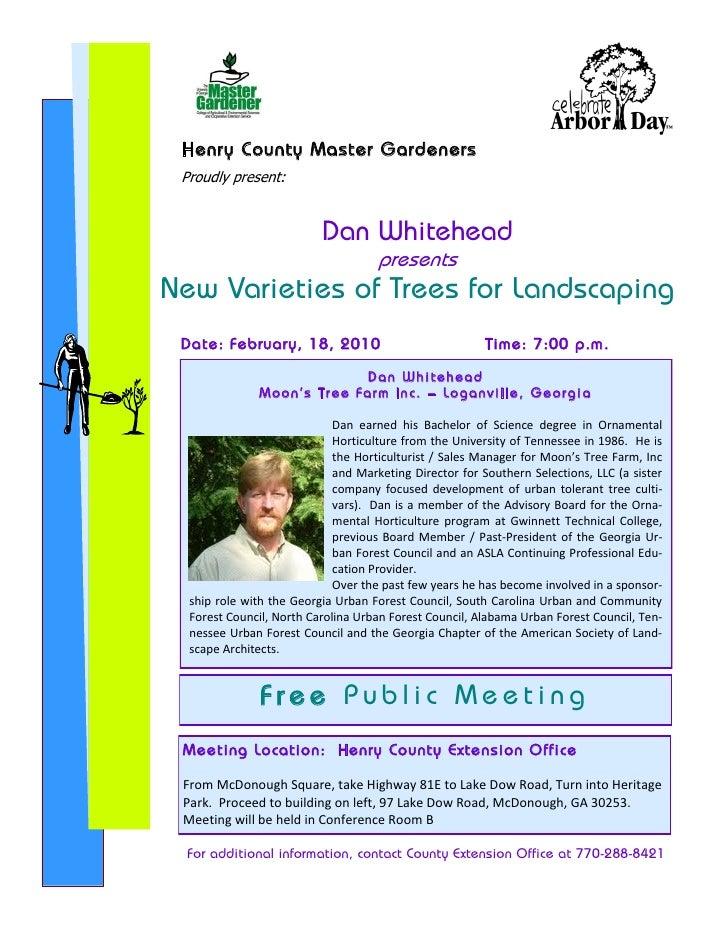Henry County Master Gardeners  Proudly present:                               Dan Whitehead                               ...