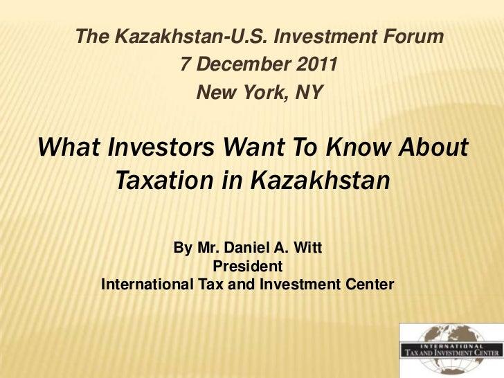 Инвесторы и налоговая политика Казахстана