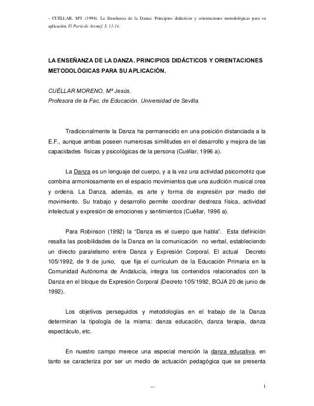 - CUÉLLAR, MªJ. (1998). La Enseñanza de la Danza: Principios didácticos y orientaciones metodológicas para su aplicación. ...