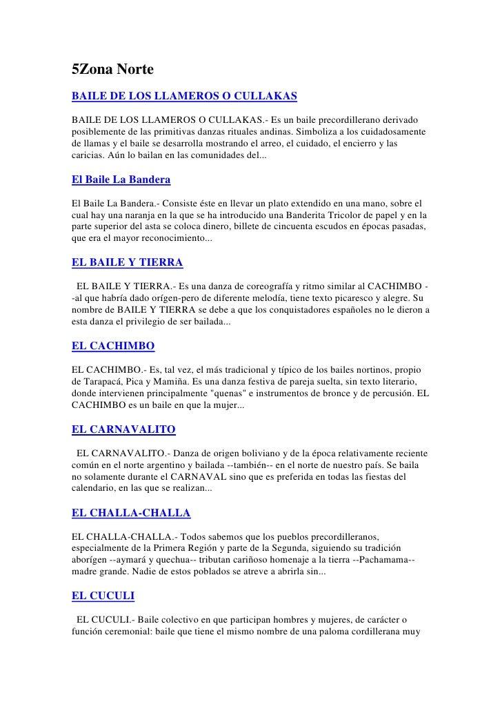 5Zona NorteBAILE DE LOS LLAMEROS O CULLAKASBAILE DE LOS LLAMEROS O CULLAKAS.- Es un baile precordillerano derivadoposiblem...