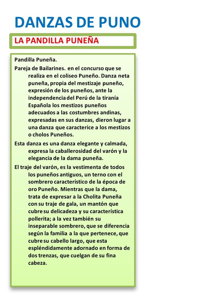 DANZAS Y SU RESEÑA HISTORIZA<br />DE PUNO DE CUSCO Y OTROS<br />