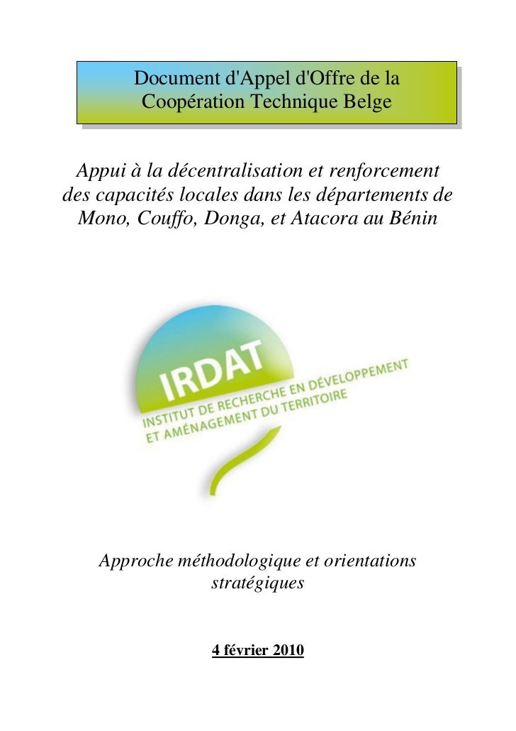 Document dAppel dOffre de la         Coopération Technique Belge Appui à la décentralisation et renforcementdes capacités ...