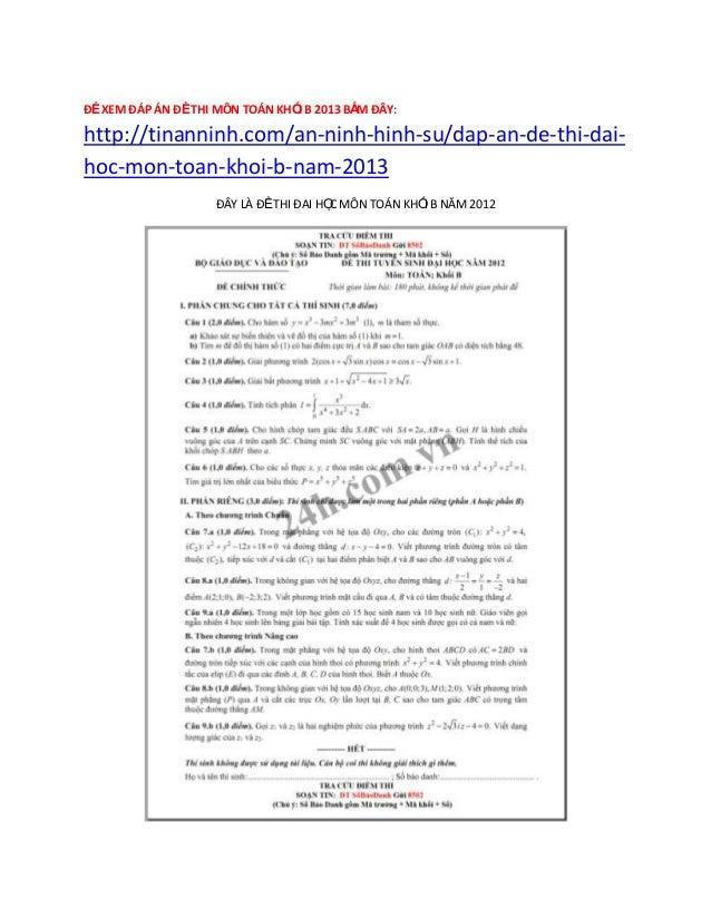 Dap an de thi dai hoc mon toan khoi b nam 2013 (Cập nhật 9/7)