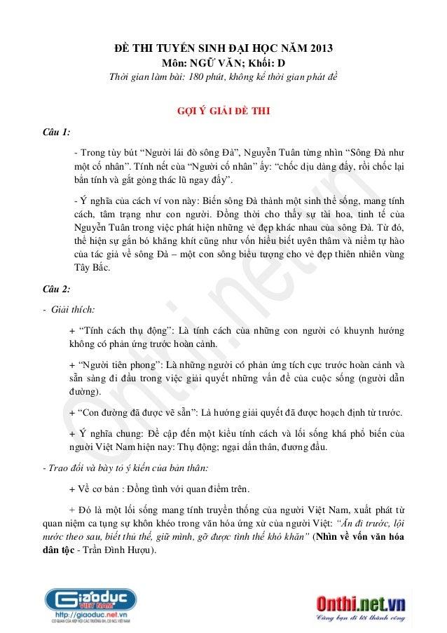 ĐỀ THI TUYỂN SINH ĐẠI HỌC NĂM 2013 Môn: NGỮ VĂN; Khối: D Thời gian làm bài: 180 phút, không kể thời gian phát đề GỢI Ý GIẢ...