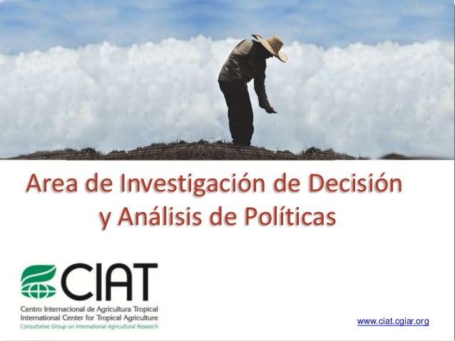 Area de Investigación de Decisión      y Análisis de Políticas                            www.ciat.cgiar.org