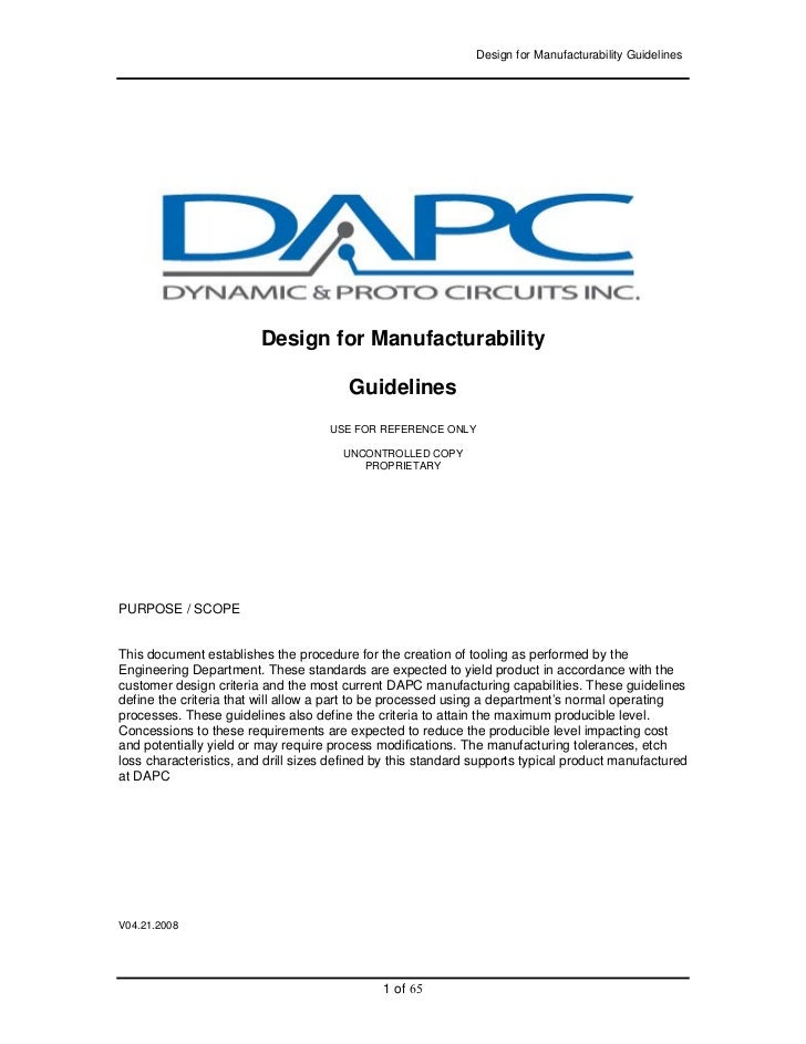 Design for Manufacturability Guidelines                         Design for Manufacturability                              ...