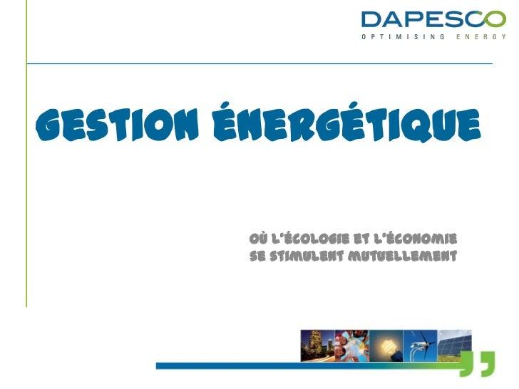 Gestion énergétique         Où l'écologie et l'économie         se stimulent mutuellement