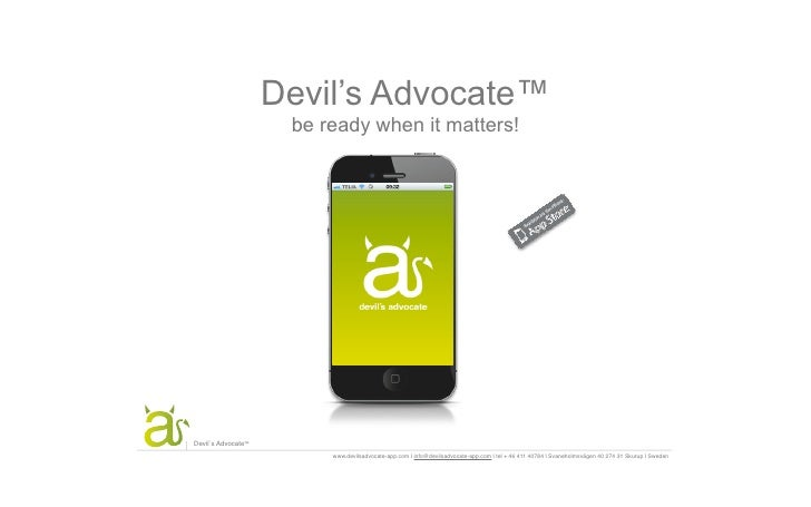 Devil's Advocate™                     be ready when it matters!                    be ready when it matters!™Devil´s Advoc...