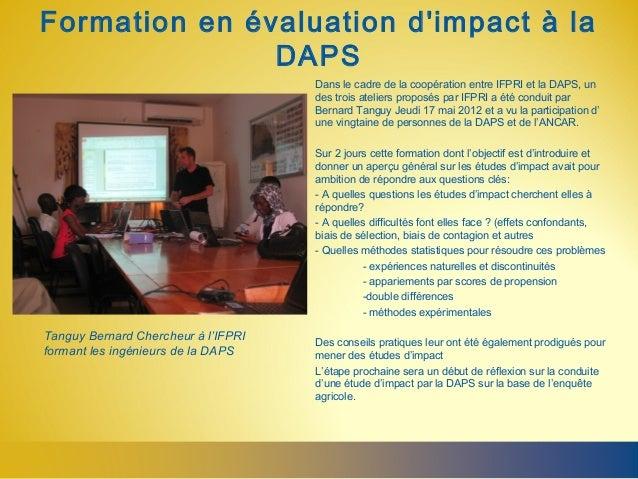 Formation en évaluation dimpact à la               DAPS                                     Dans le cadre de la coopératio...