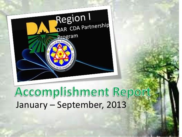 DAR CDA Partnership Accomplishment Report  2013