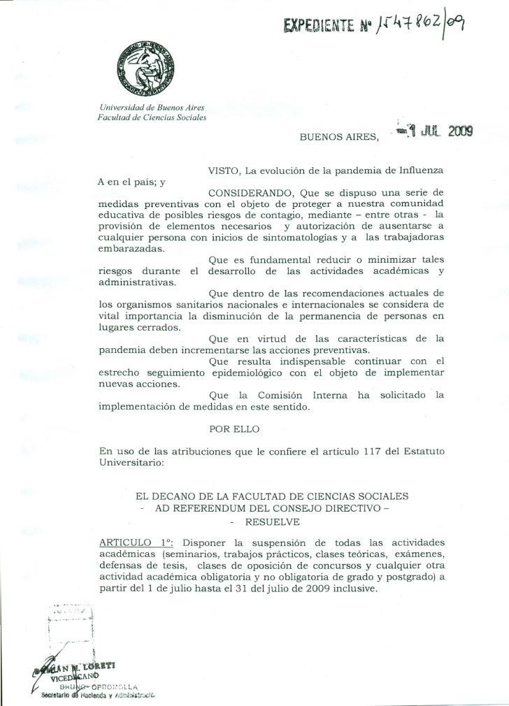 Resolución sobre la suspensión de la facultad por gripe A