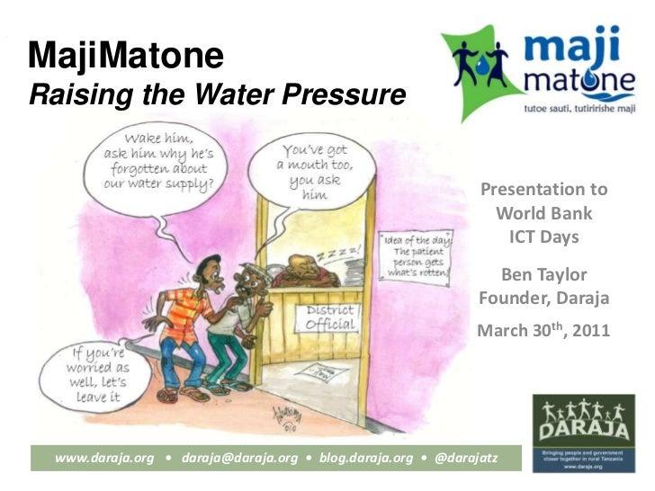 Daraja: Raising the water pressure