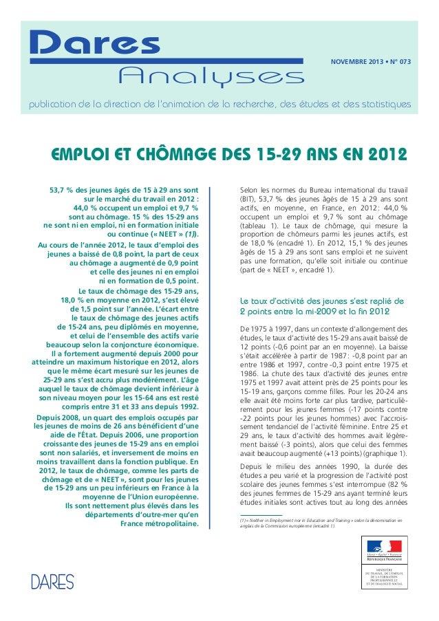 Dares : Emploi et chômage des 15-29 ans en 2012