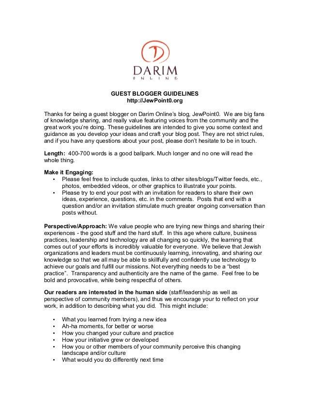 Darim's guest blogging guidelines 2012