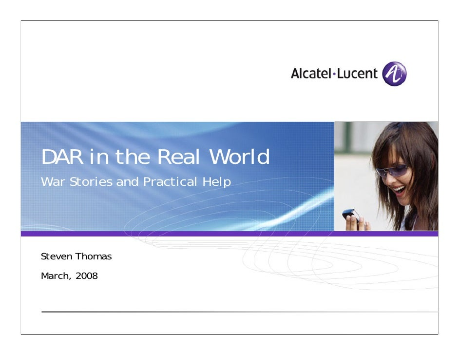 Dar in real worldsepg 2008 alcatel lucent