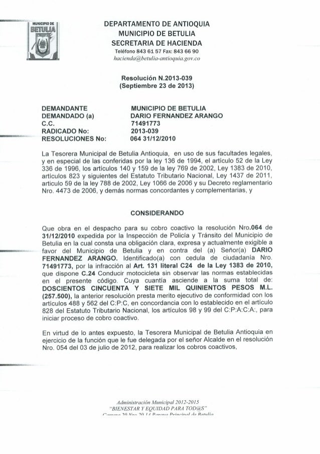 Resolucion N 2013-039 de Septiembre 20 de 2013
