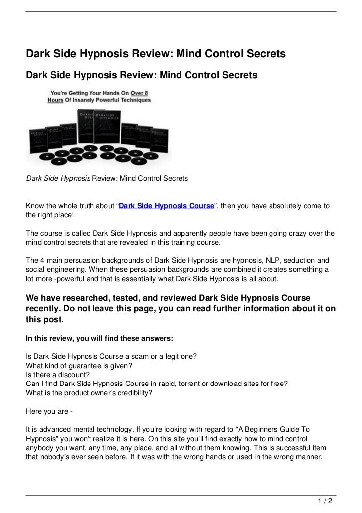 Dark Side Hypnosis Review: Mind Control SecretsDark Side Hypnosis Review: Mind Control SecretsDark Side Hypnosis Review: M...
