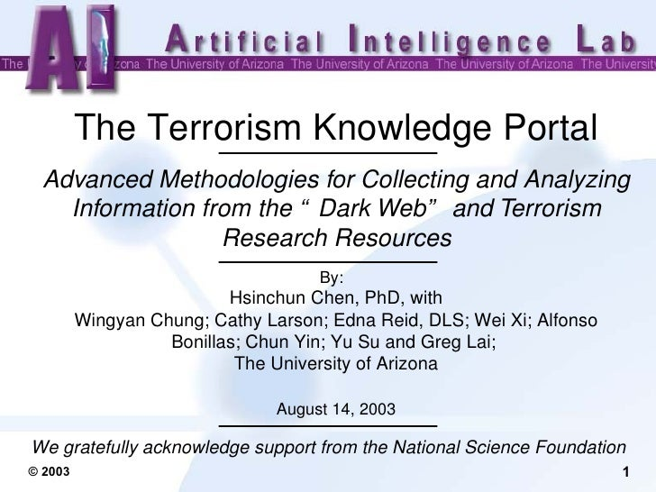 """The Terrorism Knowledge Portal Advanced Methodologies for Collecting and Analyzing Information from the """"Dark Web"""" and Ter..."""